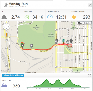Hill Run Map and elevation graph