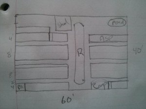 A rough sketch of my plan for the garden.